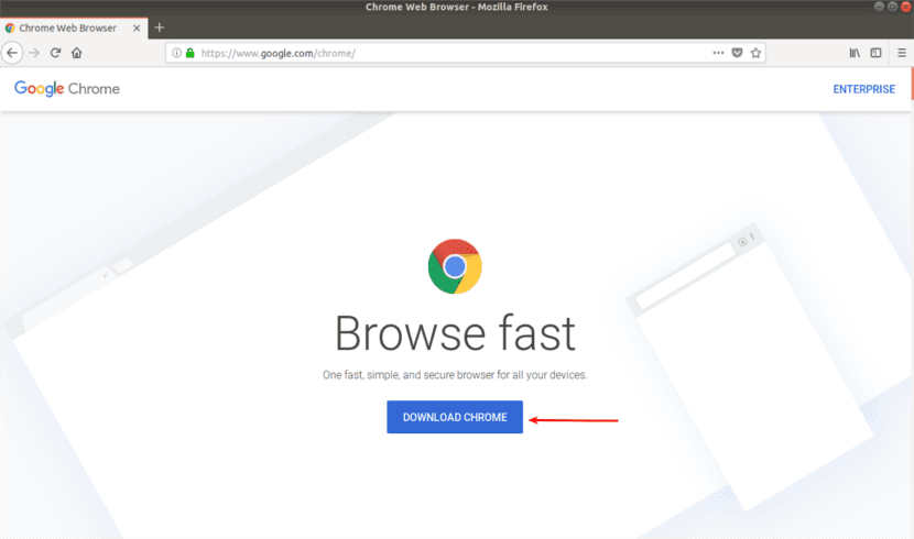 web de descarga de Chrome