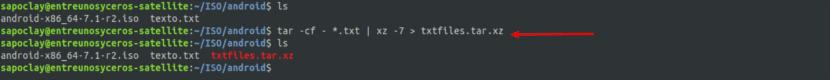 crear un archivo tar.xz opción 1
