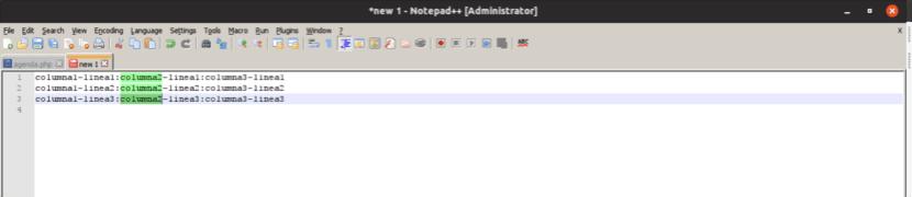 notepad ++ selección de columna