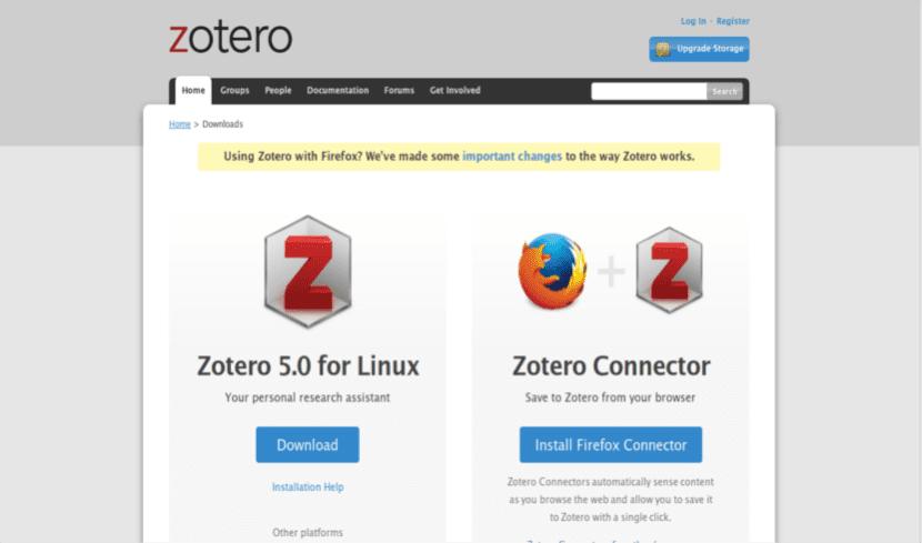 Página web descarga Zotero