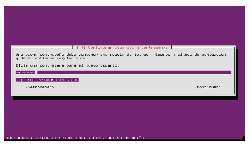Password Usuario Ubuntu Server 18.04LTS