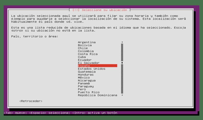 Selección de idioma para Ubutu Server 18.04 LTS