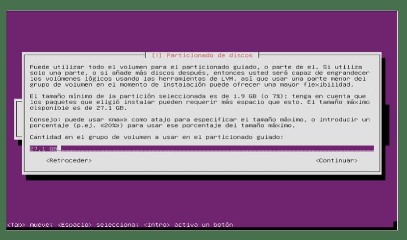 Tamaño de partición en Ubuntu Server 18.04 LTS