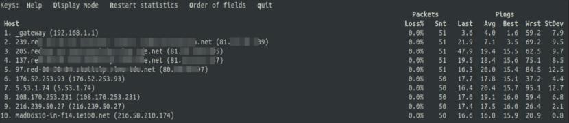 ver hosts e ips numéricas mtr