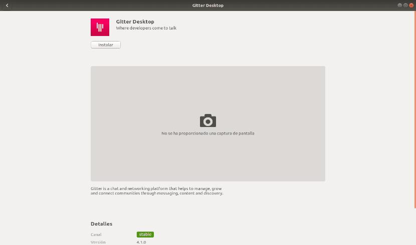 Gitter desktop opción de software paquete snap
