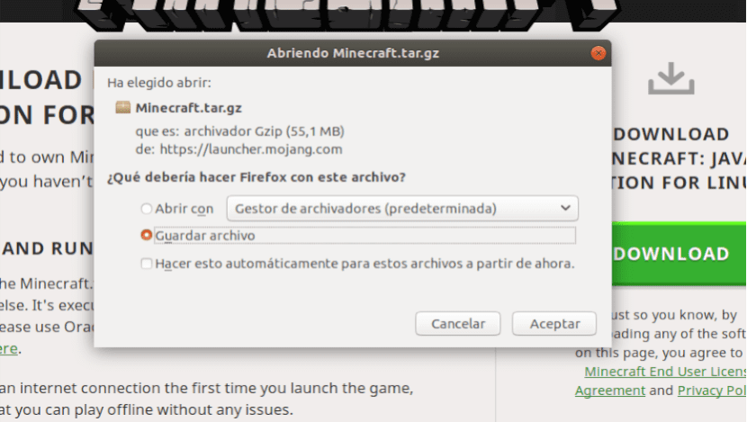 archivo comprimido Minecraft Java Edition