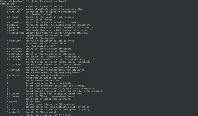 comandos disponibles para apachebench