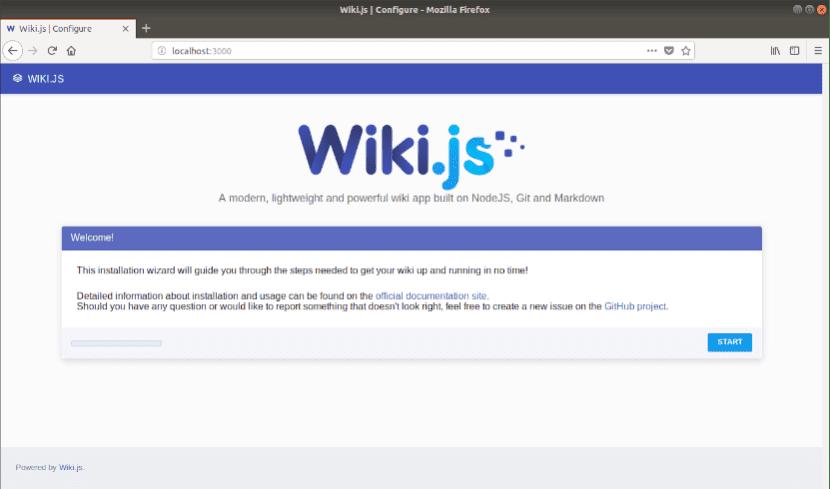 configuración desde el navegador de wiki.js