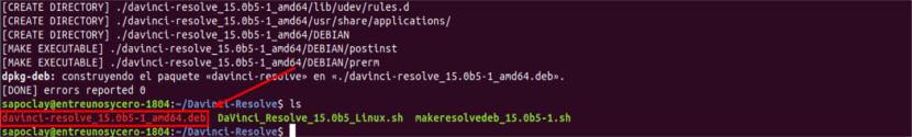 DaVinci resolve archivo .deb generado