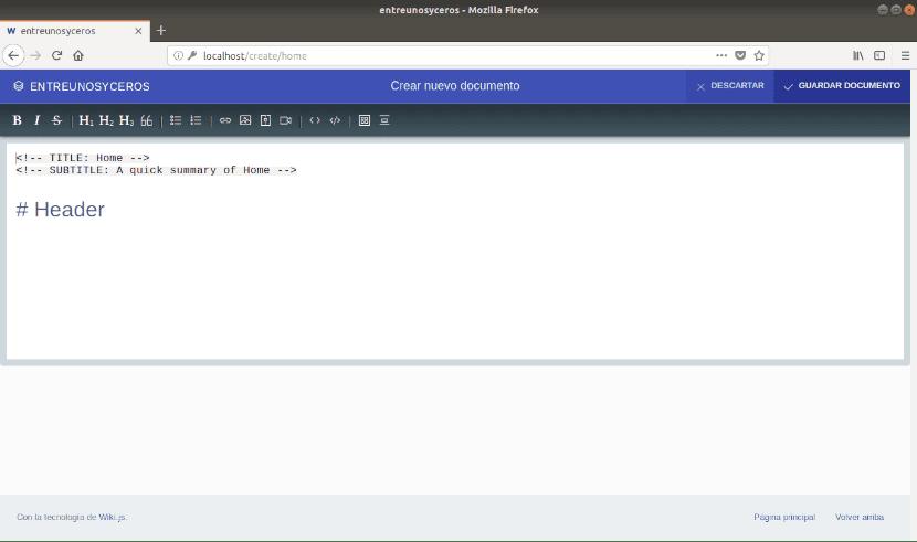 Editor de Wiki.js