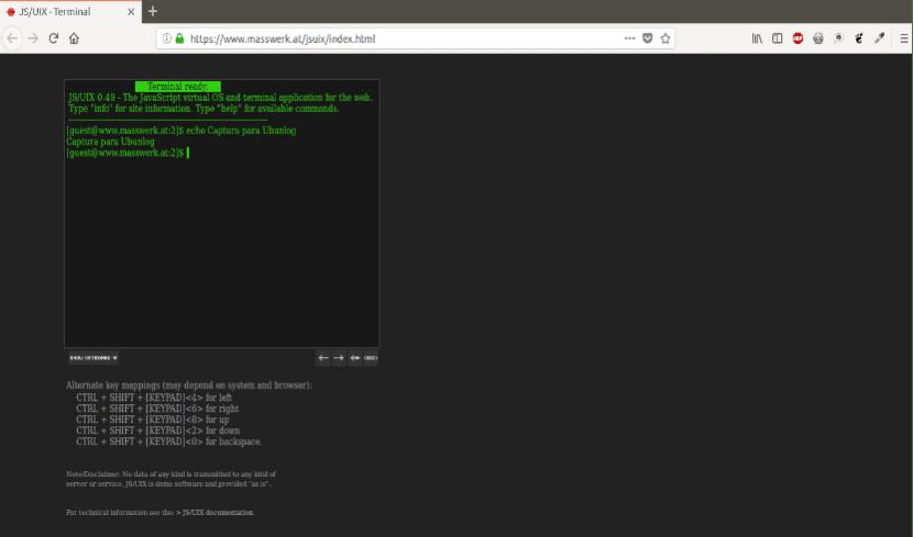 JSUnix terminales online