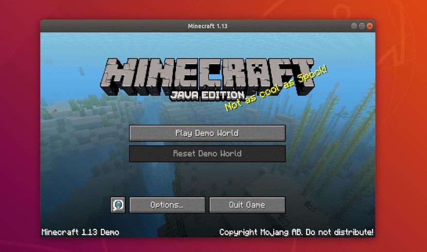Minecraft pantalla de inicio