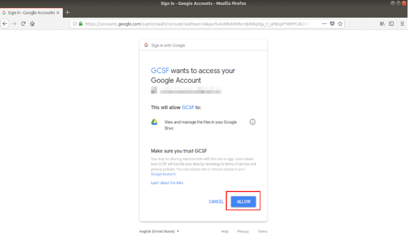 pantalla de acceso para montar google drive localmente con gcsf