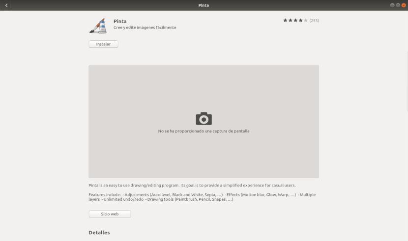 pinta opción software Ubuntu
