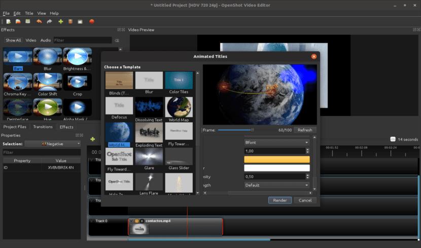 Títulos animados con el editor de vídeo OpenShot 2.4.2