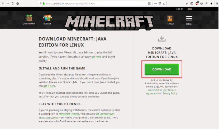 Web de descarga de Minecraft Java Edition