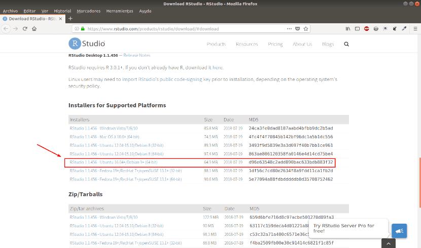RStudio página de descarga