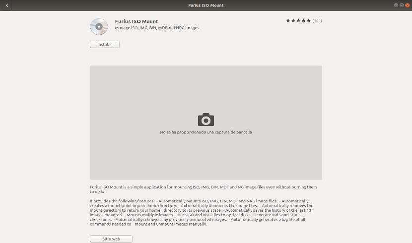opción de software de Ubuntu furius ISO Mount