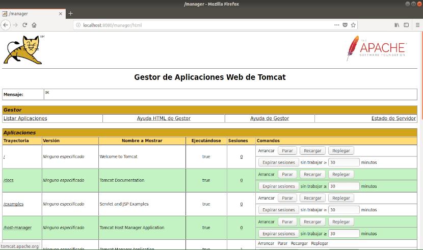 administrador de aplicaciones de tomcat 9