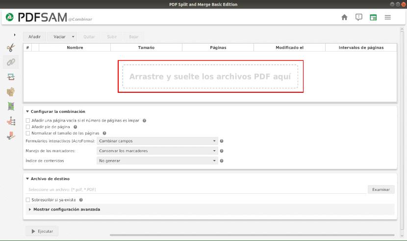 combinar archivos pdfsam caja arrastrar archivos pdf