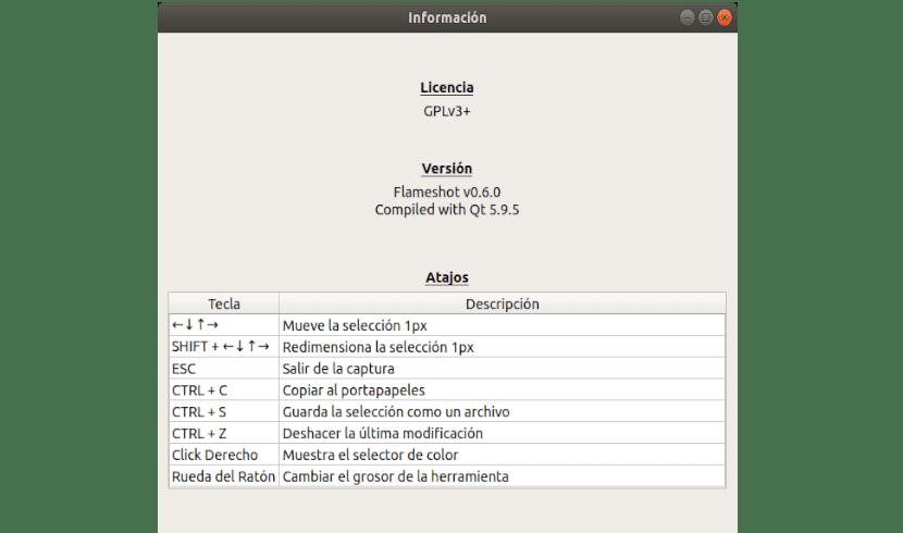 información sobre flameshot 0.6
