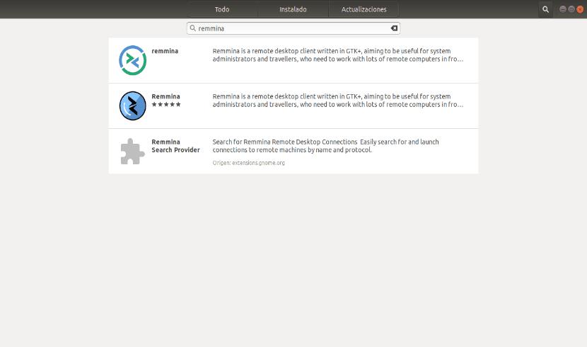 Instalación de Remmina Remote Dekstop Client desde la opción de software de Ubuntu