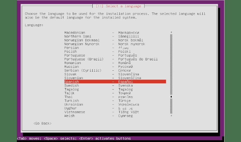 lenguaje instalación mini ISO Ubuntu 18.04
