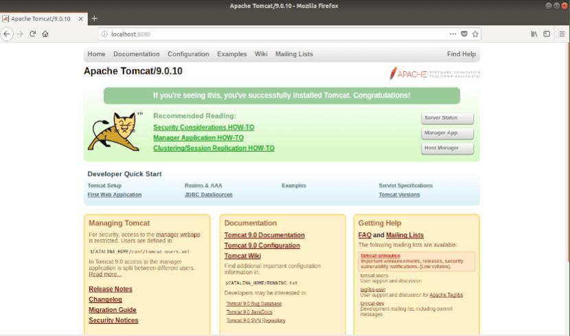 pantalla de inicio de tomcat 9.0.10