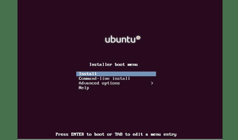 pantalla opción instalación mini ISO Ubuntu 18.04