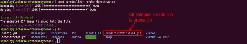 terminalizer crear gif animado