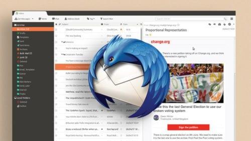 Captura de pantalla de Mozilla Thunderbird con el nuevo aspecto