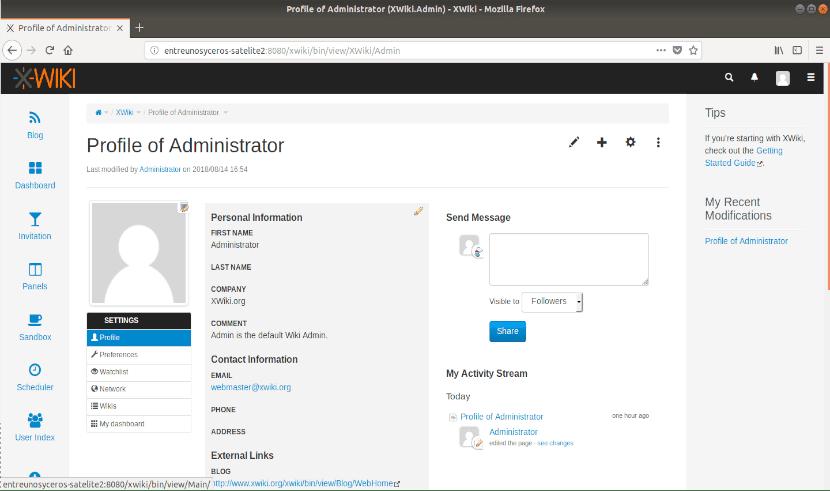 xwiki perfil administrador