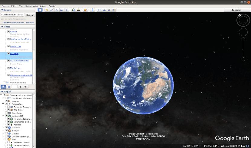Google Earth Pro vista de la tierra