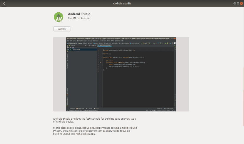 Android Studio opción de software