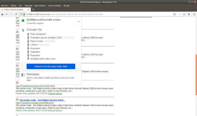 búsqueda con el navegador Tor