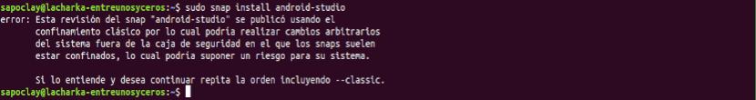 error de instalación de Android Studio 3.1.4 con el paquete snap