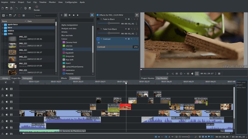 Captura de pantalla de Kdenlive