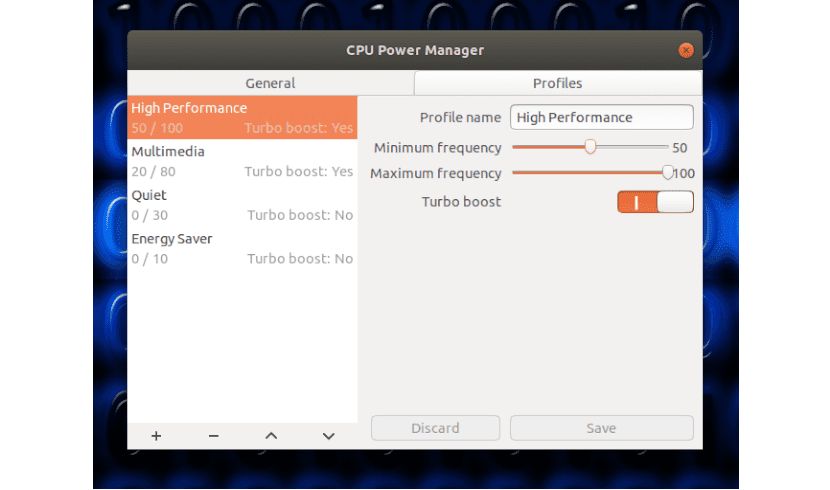 perfiles cpu power manager