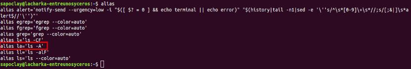 comando alias por defecto ubuntu