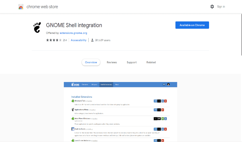 Gnome-shell extensions para Chrome
