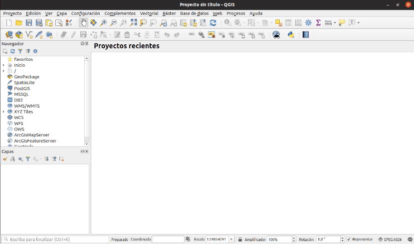 Interfaz de usuario de QGIS 3
