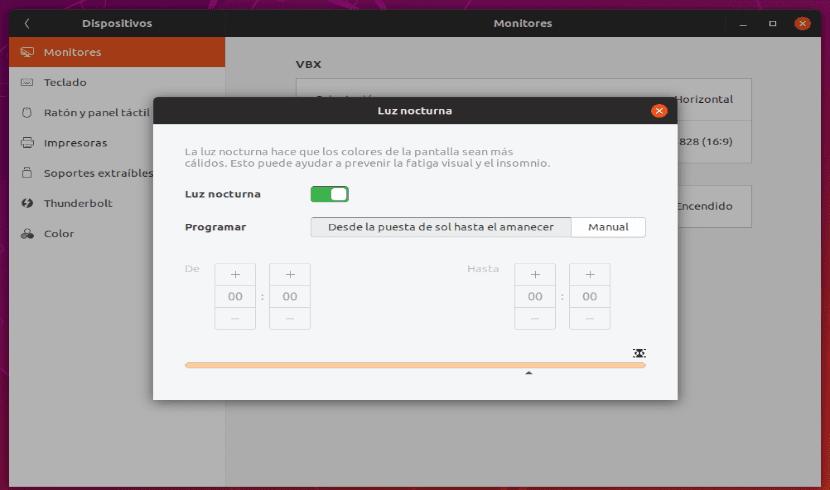 luz nocturna Ubuntu 18.10