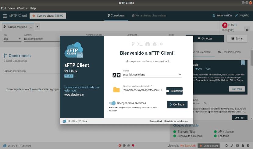 pantalla de bienvenida sftp client