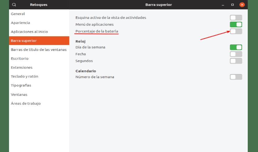 porcentaje de batería en Ubuntu 18.10