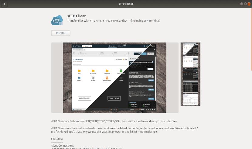sFTP Client opción de software de Ubuntu