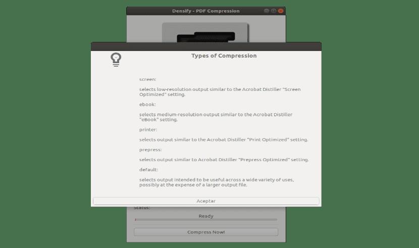 tipos de compresión de PDF con Densify