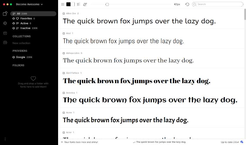 FontBase pantalla de inicio