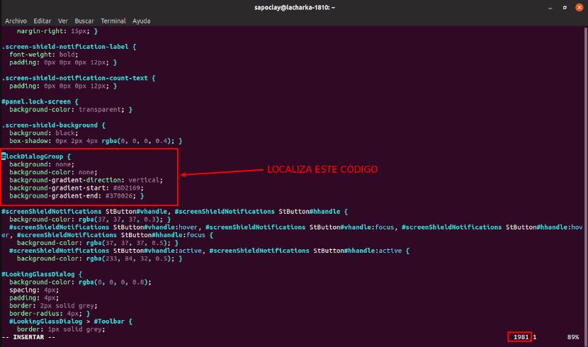 código a cambiar en gdm3.css