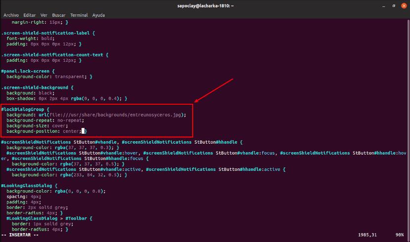 código cambiado en gdm3.css