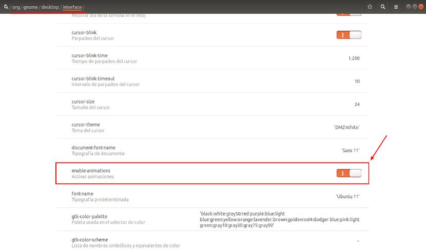 desactivar animaciones dconf editor